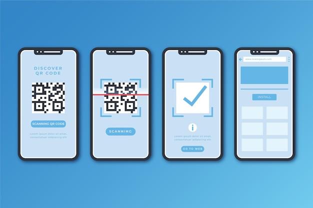 Etapas de verificação de código qr com smartphone