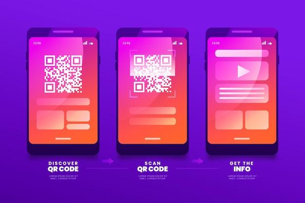 Etapas de verificação de código qr no smartphone