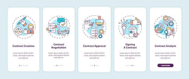 Etapas do ciclo de vida do contrato integrando a tela da página do aplicativo móvel com conceitos