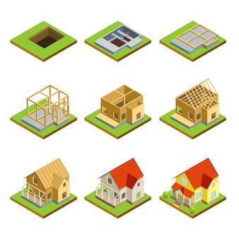 Etapas do conjunto 3d isométrico de construção de casa