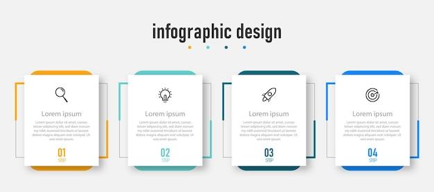 Etapas do fluxograma de elementos de design de infográfico de negócios