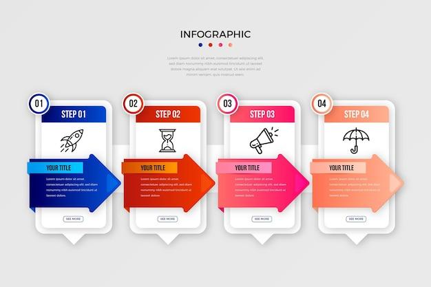 Etapas do infográfico gradiente colorido