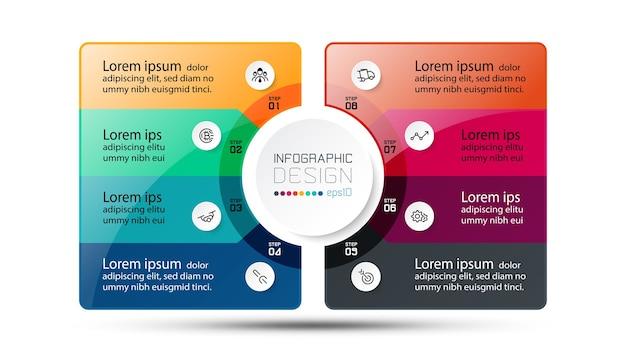 Etapas do modelo de infográfico de círculo