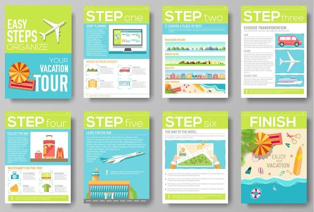 Etapas fáceis de organizar para o panfleto de sua viagem de férias com infográficos e texto inserido