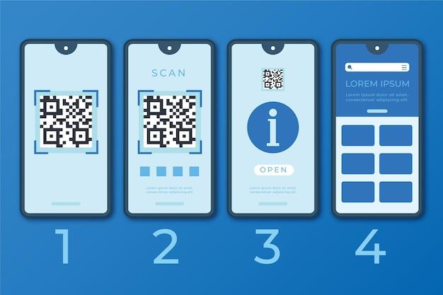 Etapas ilustradas de verificação de código qr com smartphone