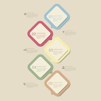Etapas multicoloridas crepúsculo retrô pastel processam modelo de infográficos