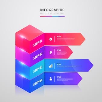Etapas realistas brilhantes de infográfico