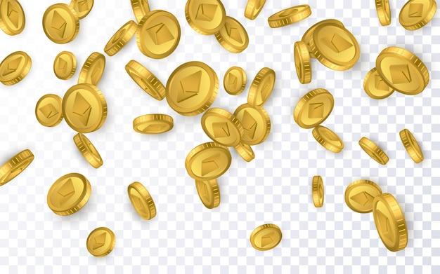 Eth. explosão de moedas de ouro ethereum isolada em fundo transparente. conceito de criptomoeda.