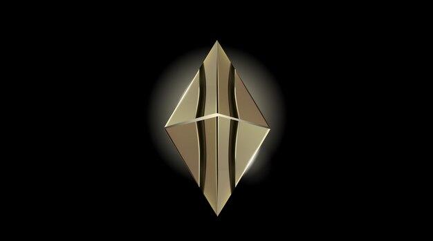 Ethereum crypto currency ouro isolado em ilustração vetorial de fundo preto