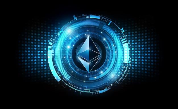 Ethereum moeda digital futurista dinheiro digital conceito de rede mundial de tecnologia azul