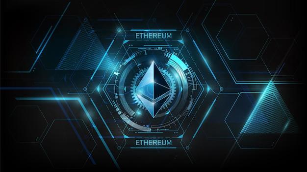 Ethereum moeda digital futurista dinheiro digital tecnologia nft blue conceito de rede mundial