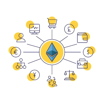Ethereum shop illustration vector isolated