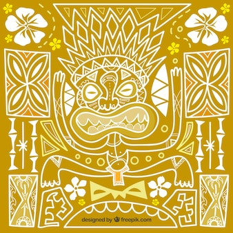 Ethnic hand drawn tiki mask background with ornamentos