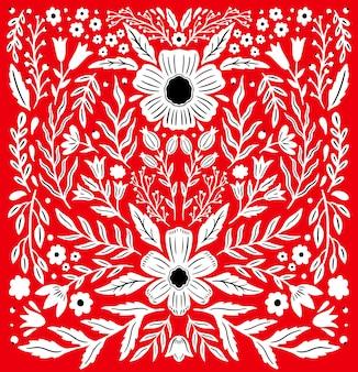 Ethno folk ornamento floral decorativo.