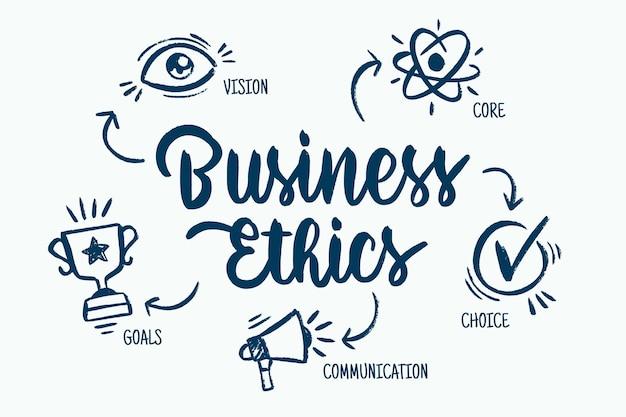 Ética empresarial desenhada à mão