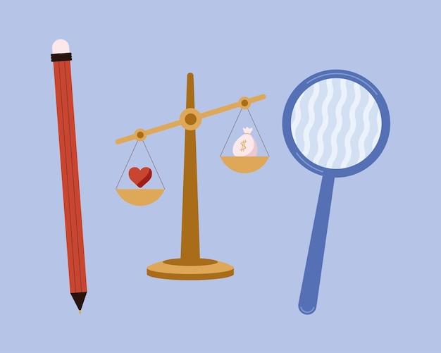 Ética empresarial três ícones definidos