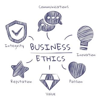 Ética nos negócios desenhada à mão cinza