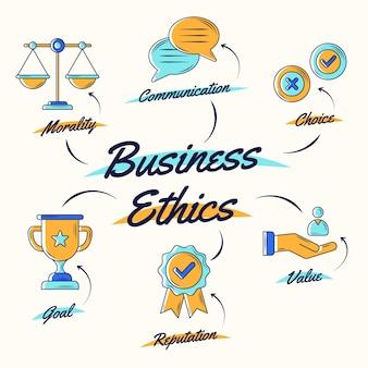 Ética nos negócios desenhada à mão