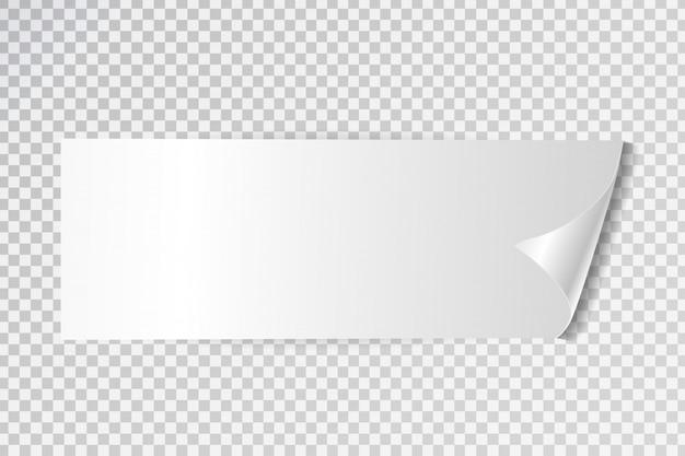 Etiqueta adesiva branca realista para venda no fundo transparente. bandeira branca para promoção e publicidade.