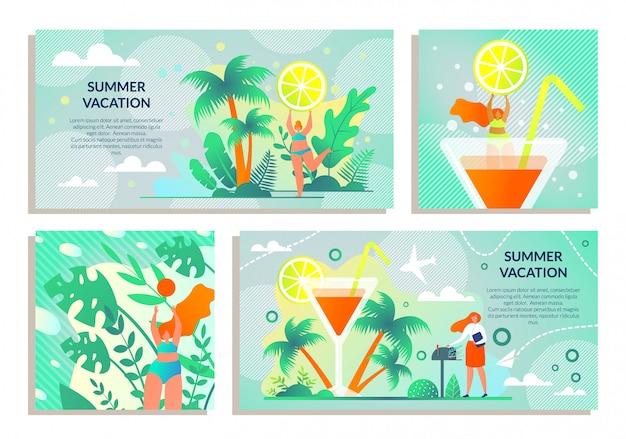 Etiqueta ajustada com férias de verão da inscrição