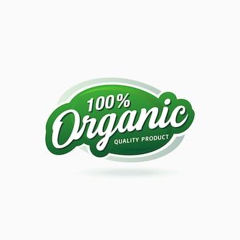 Etiqueta autocolante com selo certificado de produto 100% alimentar orgânico