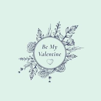 Etiqueta botânica abstrata de dia dos namorados com moldura redonda floral