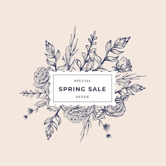 Etiqueta botânica abstrata de venda primavera com banner floral moldura quadrada.