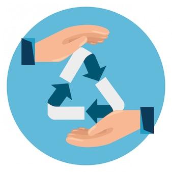 Etiqueta com as mãos e sinal de reciclagem de ecologia