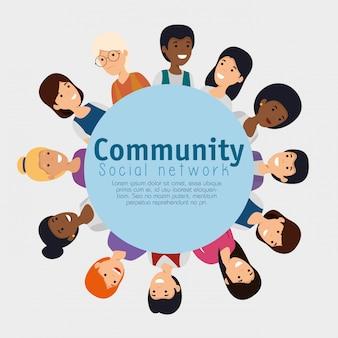 Etiqueta com comunidade de pessoas e mensagem social