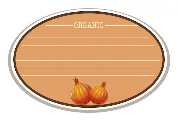 Etiqueta com cópia espaço e cebola