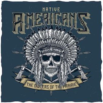 Etiqueta com crânio de chefe índio americano com tomahawk.