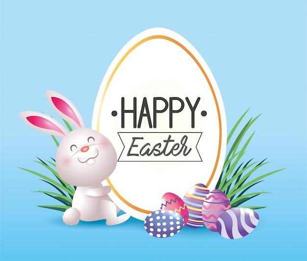 Etiqueta com decoração de coelho e ovos de páscoa