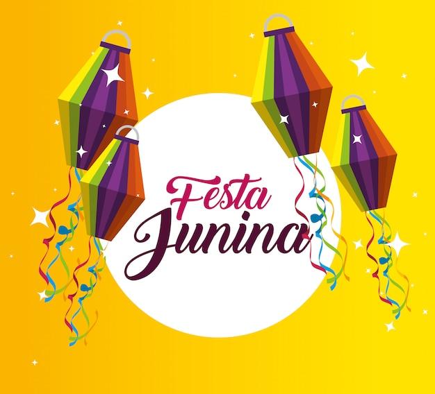 Etiqueta com decoração de lanterna para festa junina