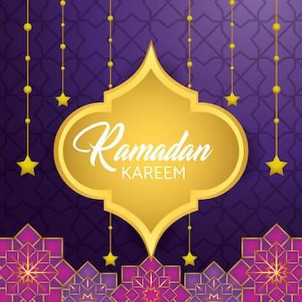Etiqueta com estrelas penduradas para o festival de ramadan kareem