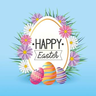 Etiqueta com flores e decoração de ovos de páscoa