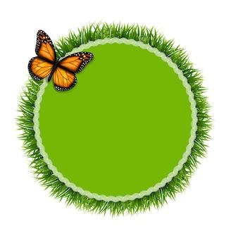 Etiqueta com grama e borboleta, ilustração