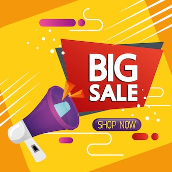 Etiqueta comercial com banner de letras e megafone de grande venda