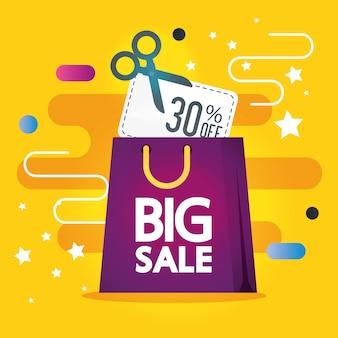 Etiqueta comercial com letras de grande venda e banner de sacola de compras