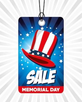 Etiqueta comercial de grande venda para o dia do memorial