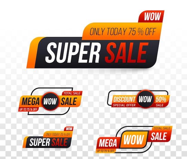 Etiqueta crachá cupom loja etiquetas de grande venda oferta especial desconto melhor preço banner mega venda