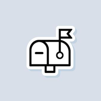 Etiqueta da caixa de correio. logotipo do boletim informativo. envelope. ícones de e-mail e mensagens. vetor em fundo isolado. eps 10.