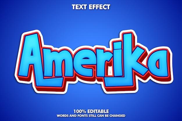 Etiqueta da etiqueta de amerika, efeito de texto editabke dos desenhos animados