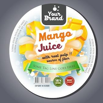 Etiqueta da etiqueta do suco da manga