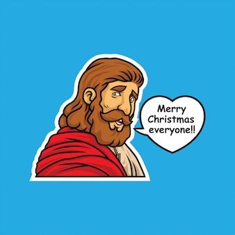 Etiqueta da ilustração do feliz natal de jesus cr