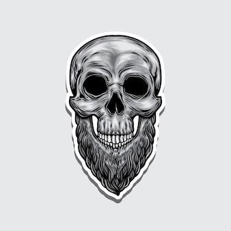 Etiqueta da ilustração do logotipo da cabeça do crânio