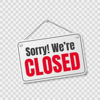 Etiqueta da loja fechada, desculpe, fechamos a placa do shopping pendurada