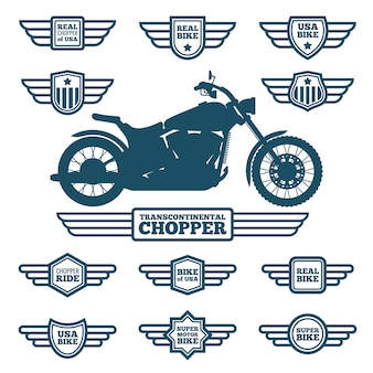Etiqueta da motocicleta do esporte e etiquetas da asa do vintage. motociclistas passeio retrô voou logotipos vector set