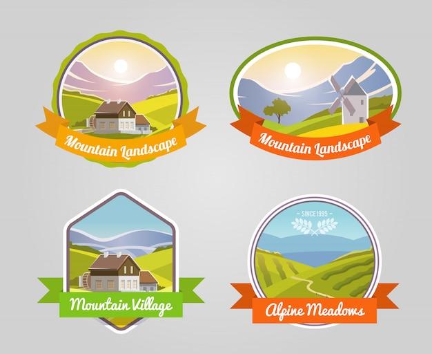 Etiqueta da paisagem da montanha