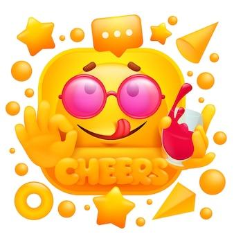 Etiqueta da web de felicidades. emoji amarelo com copo de vinho em estilo cartoon