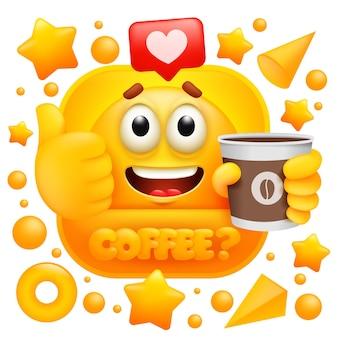 Etiqueta da web do café. personagem emoji amarelo com xícara.